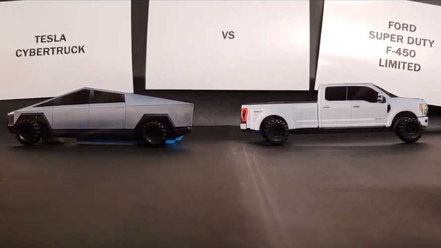 Watch Tesla Cybertruck Beat Ford F-450 Super Duty In Faux Tug-Of-War