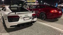 Tesla Model S Performance Raven vs Audi R8 V10 Plus drag racing