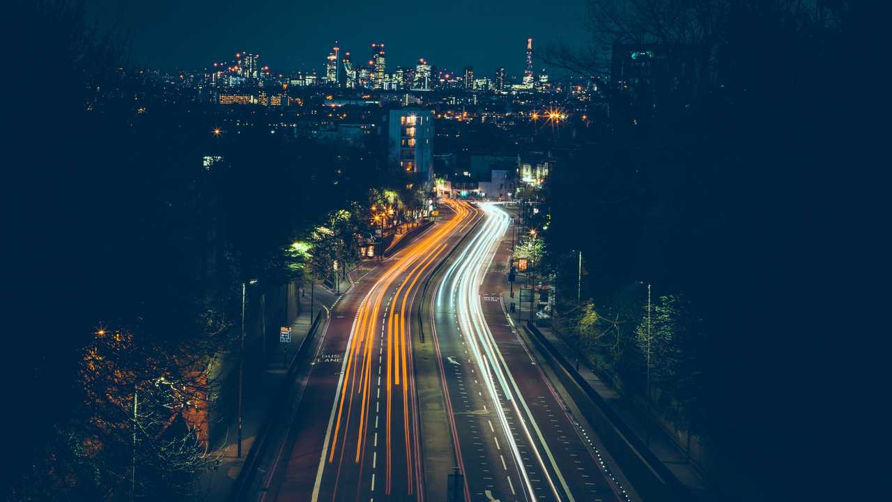 Nightime view of motorway leading to London