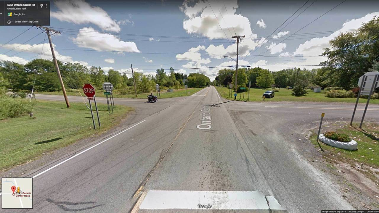 A Google Maps screen capture showing the intersection in question. The Browns would have approached the intersection from the left of the image.