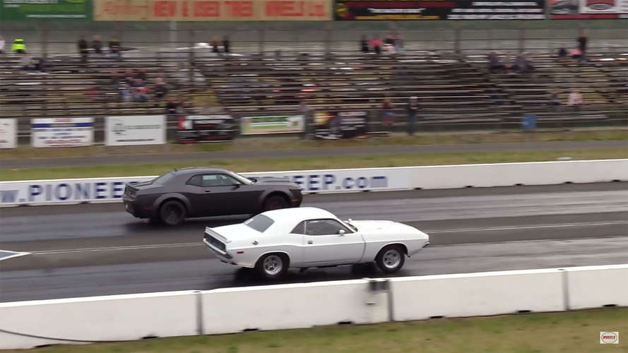 Battle Of The Generations: '72 Dodge Challenger Drag Races Demon