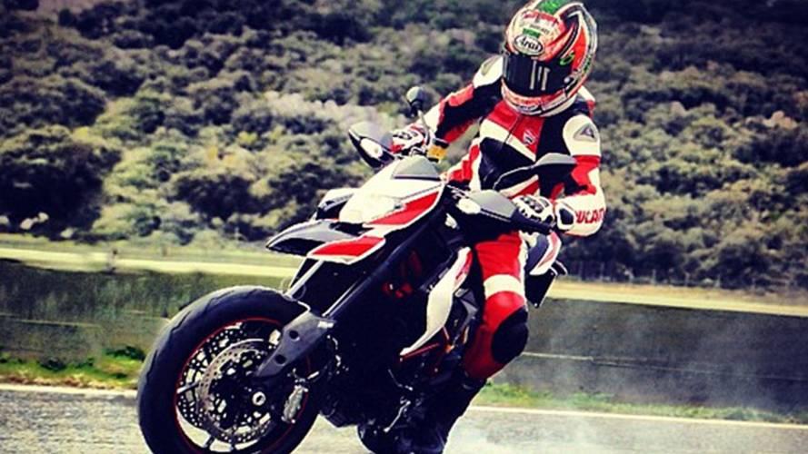 Nicky Hayden meets the new Ducati Hypermotard