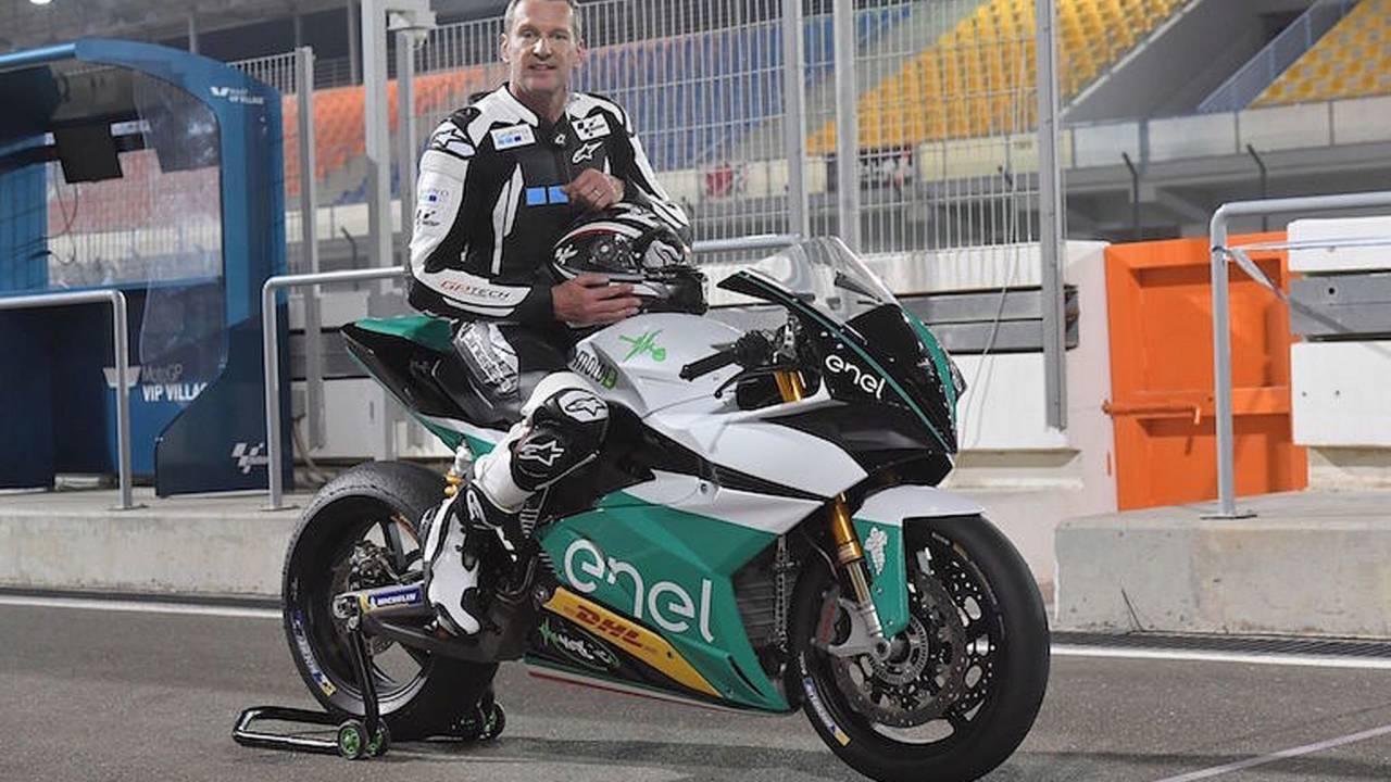 Test rider Simon Crafar aboard the EgoGP.