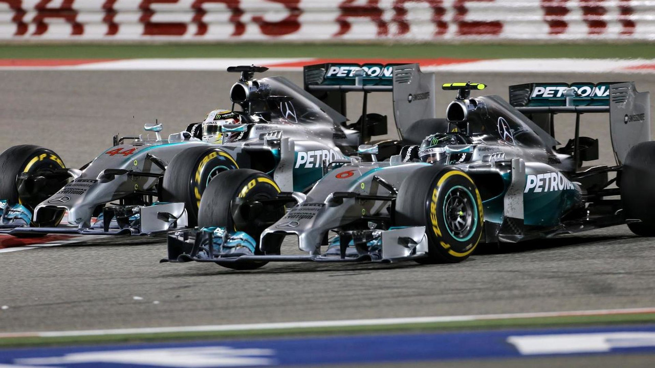 Lewis Hamilton and Nico Rosberg battle during 2014 Bahrain Grand Prix