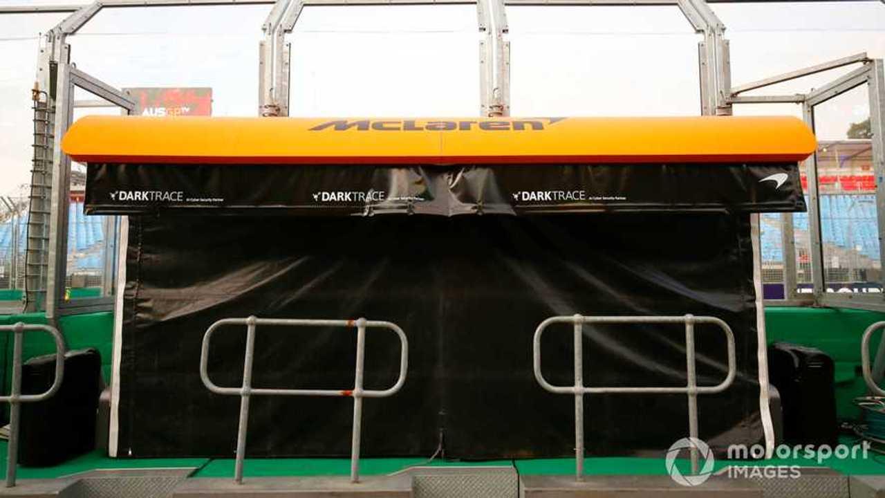McLaren pit wall stand at Australian GP 2020