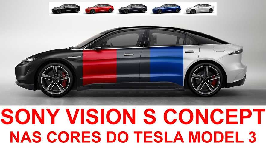 Check Out The Sony Vision-S In Color Options Of The Tesla Model 3