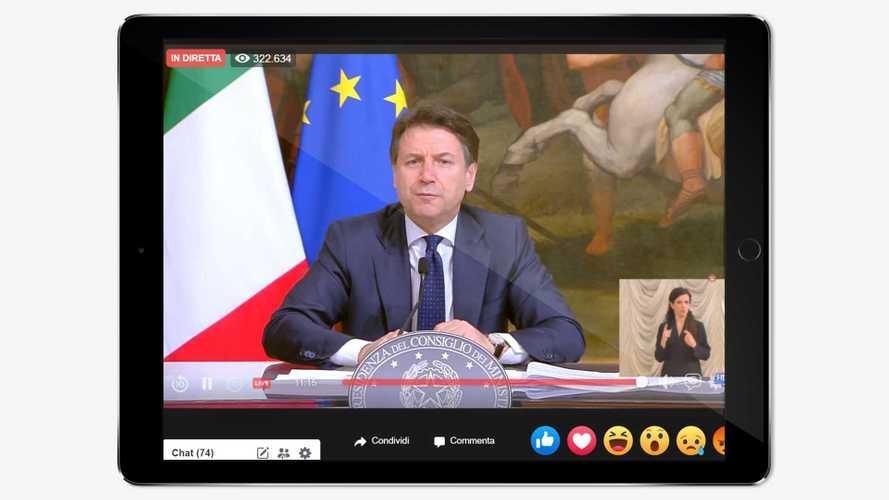Il Presidente Giuseppe Conte in diretta su Facebook