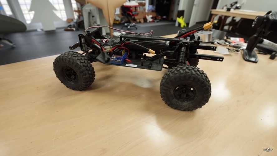 This RC Tesla Cybertruck Makes Epic Tug-Of-War Against RC Chevy Truck