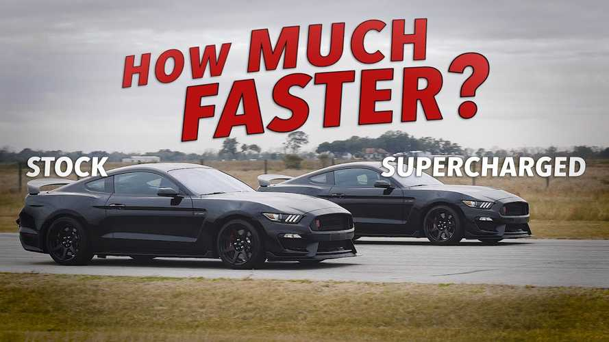 Stock Mustang Shelby GT350R Roll Races Its Supercharged Sibling