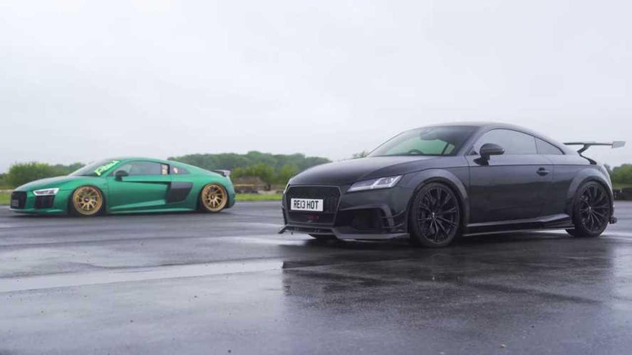 Audi TT RS Races Audi R8 V10 Plus