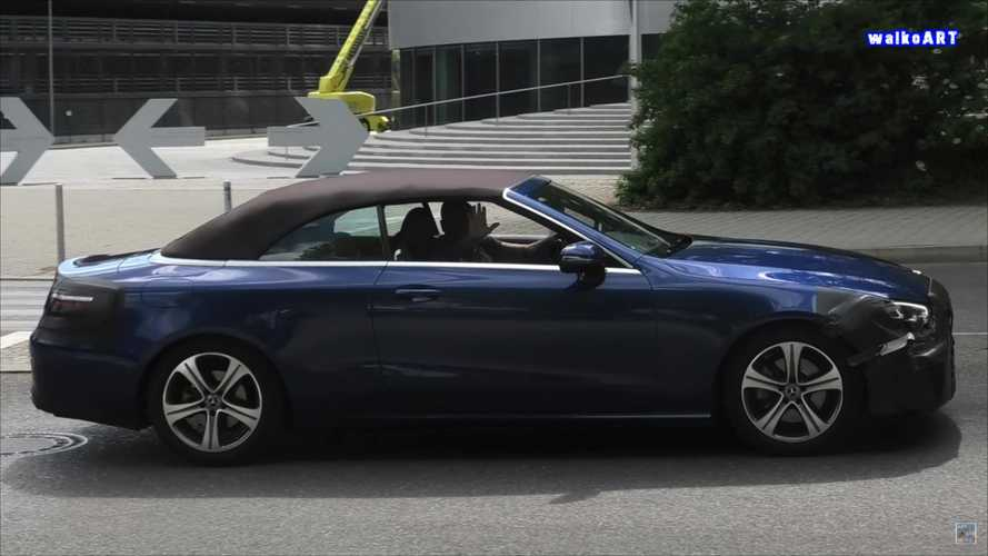 Mercedes E-Class Convertible facelift caught with barely any camo