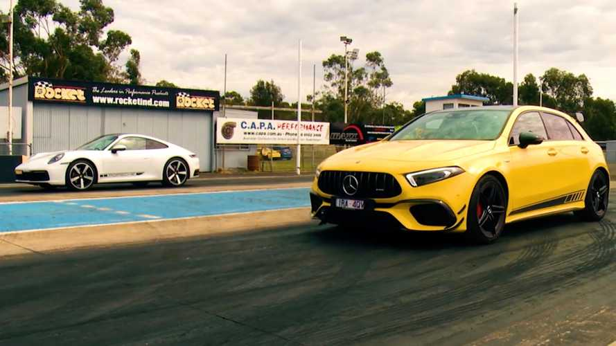 Mercedes-AMG A45 S vs Porsche 911 drag race is surprisingly close
