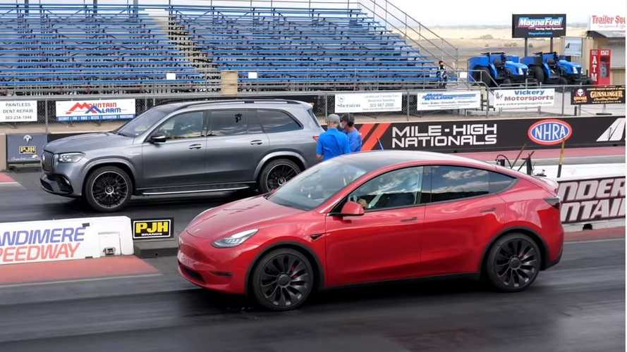 Watch Tesla Model Y drag race Mercedes-AMG GLS 63 SUV