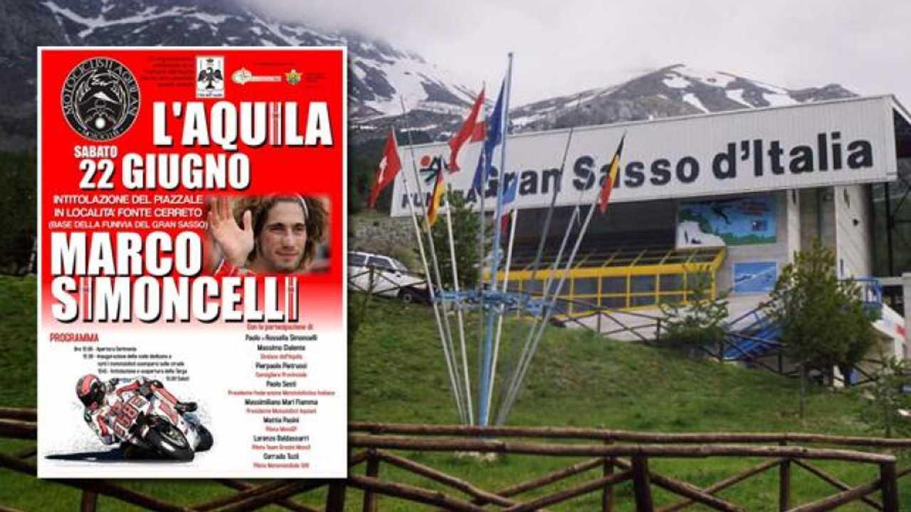 Il piazzale della Funivia del Gran Sasso intitolato a Marco Simoncelli