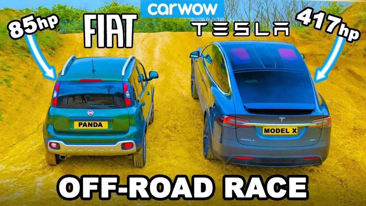 Tesla Model X против Fiat Panda Cross на бездорожье