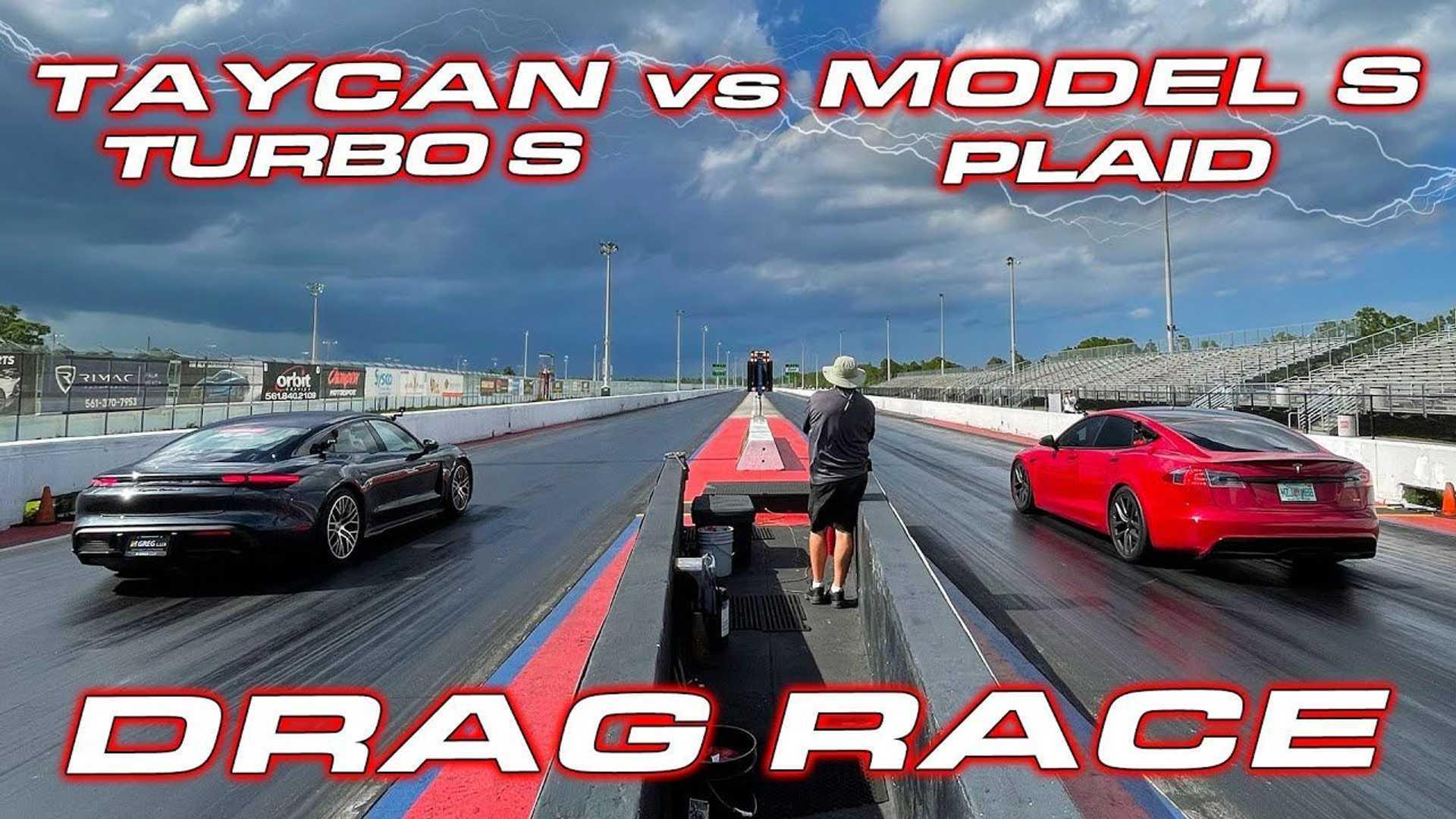 Watch Tesla Model S Plaid Destroy Porsche Taycan Turbo S In Drag Race