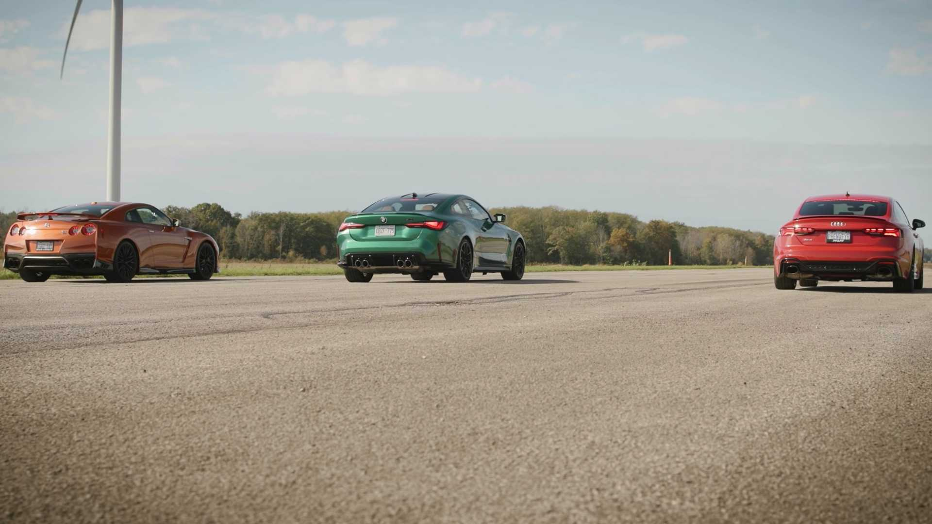 Nissan GT-R fights Audi RS5 and BMW M4 xDrive in drag race