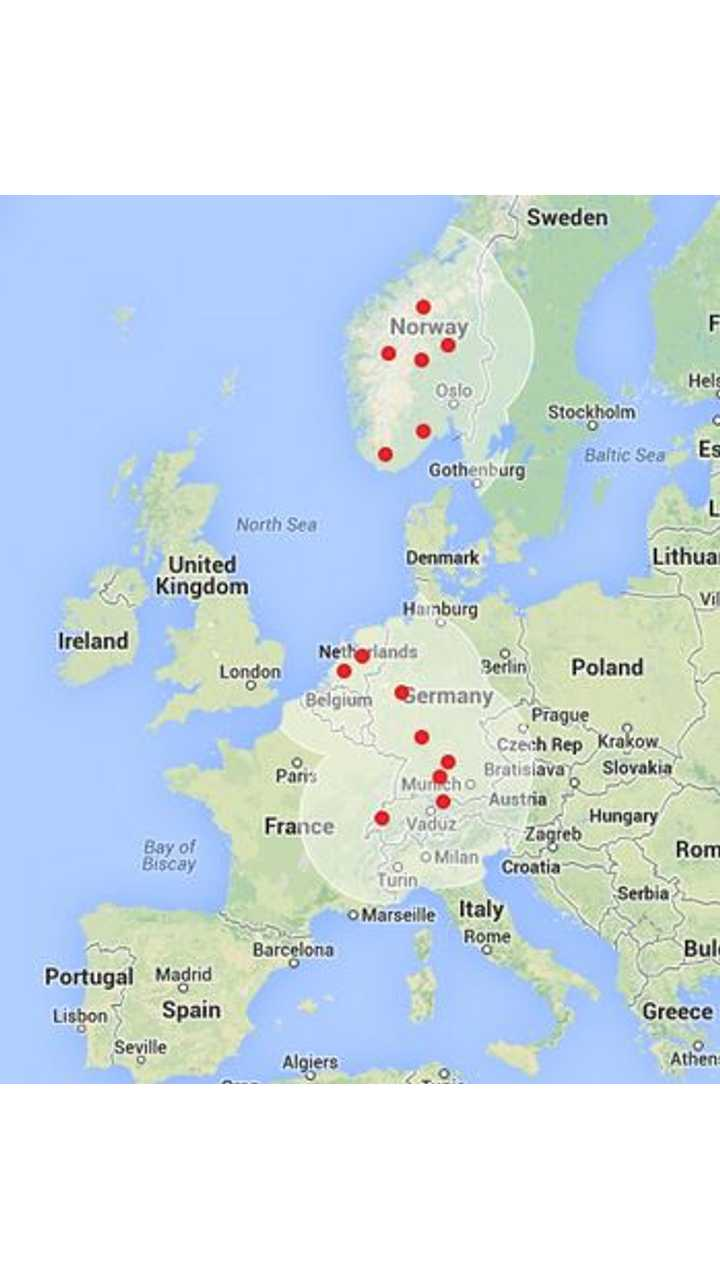 Tesla Supercharger Map for Europe