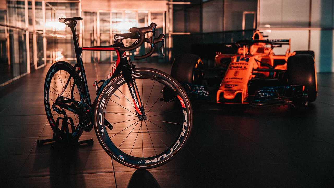 Team Bahrain Merida cycle at McLaren