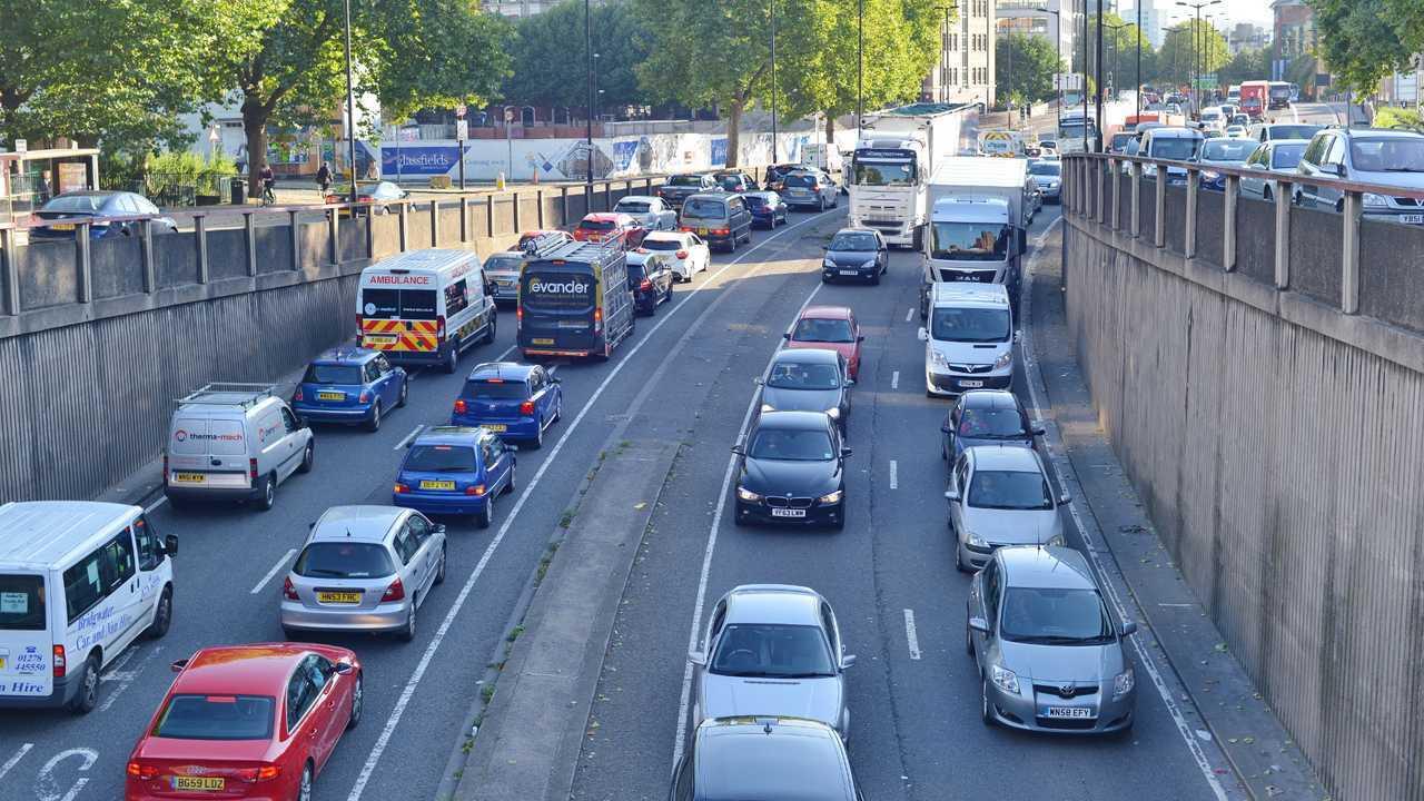 Slow moving traffic in Bristol UK
