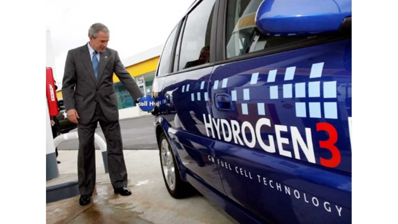 President Bush Filling GM's HydroGen3 GM Fuel Cell Vehicle In May 2005