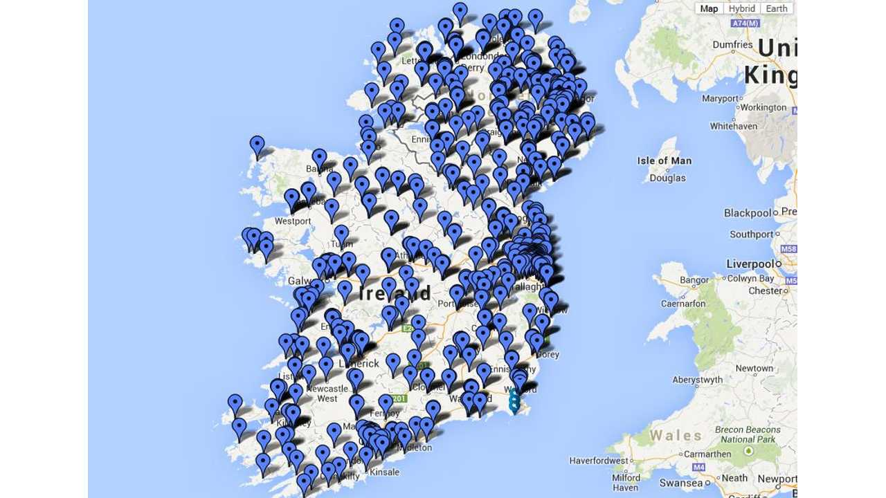 Map of Charging Points In Ireland
