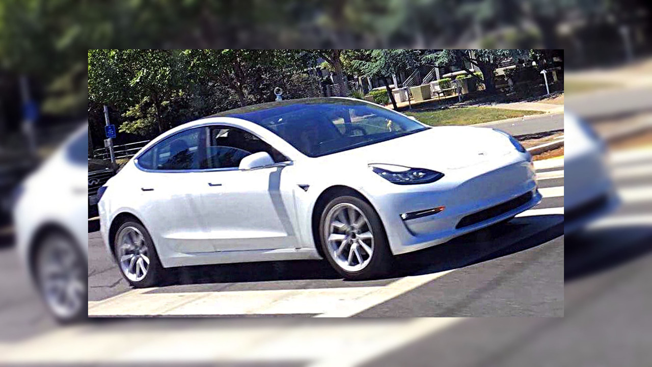 White Tesla Model 3 spy phot