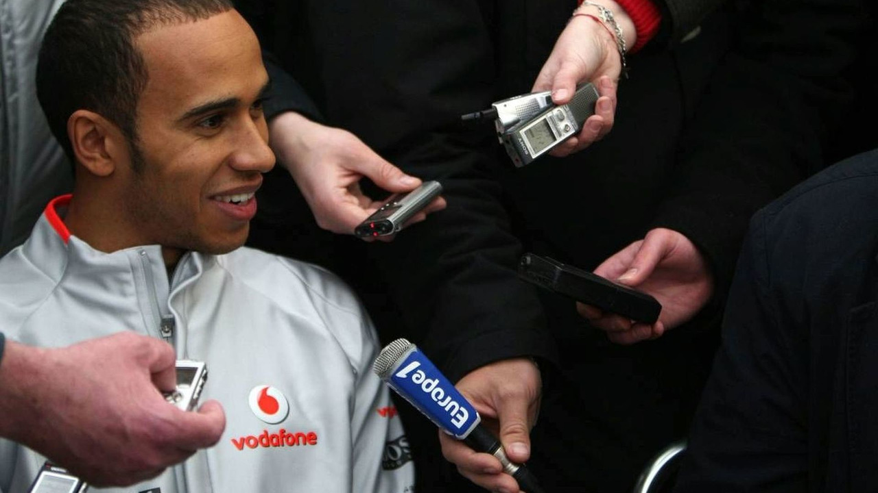 Lewis Hamilton talks to the Media