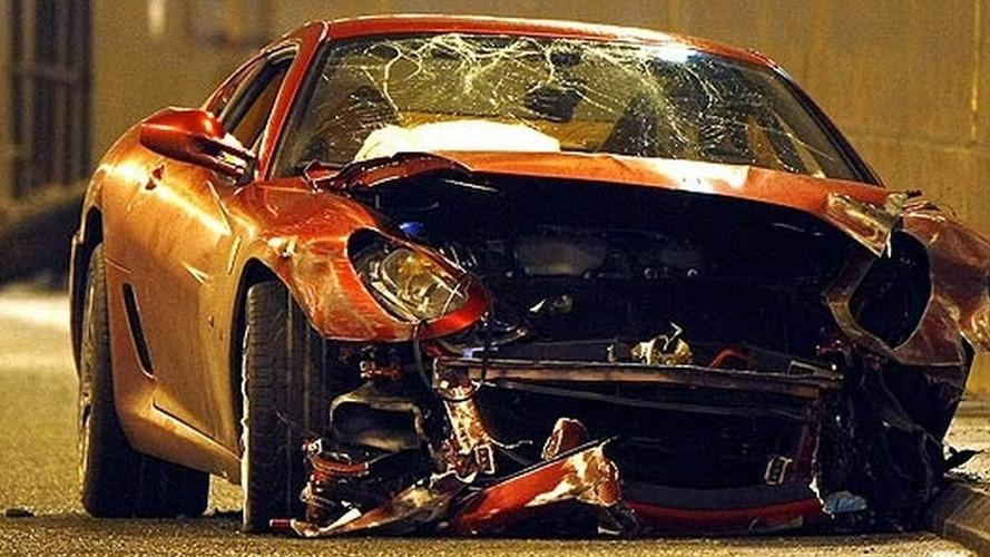 Cristiano Ranoldo's Wrecked Ferrari 599 GTB