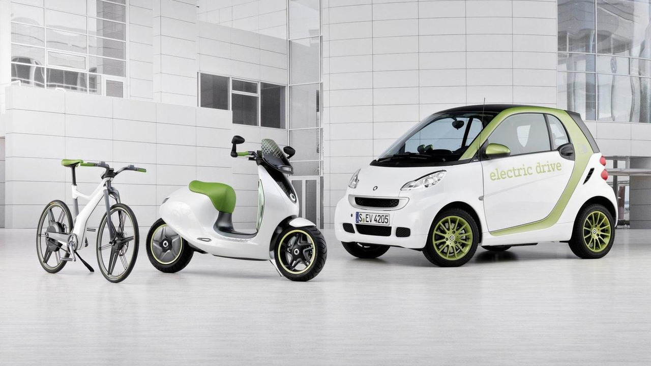 smart fortwo electric drive, smart ebike and smart escooter 30.09.2010