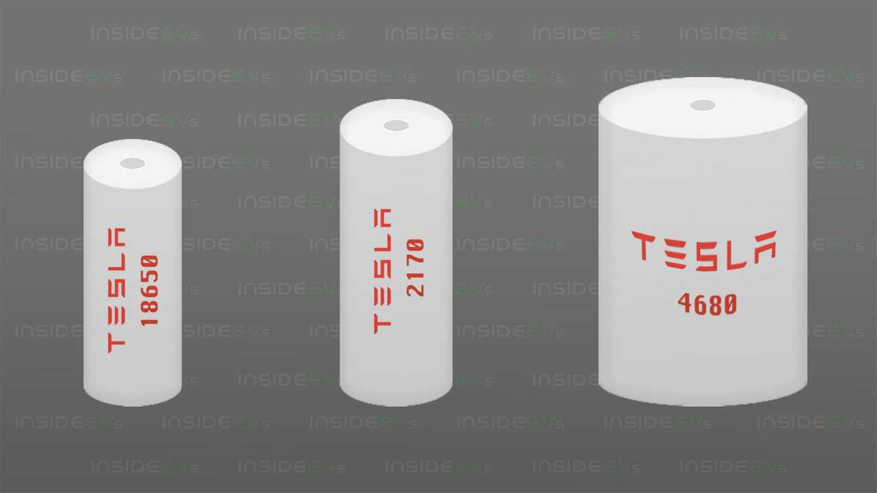 Tesla battery cells (from left): 1865, 2170 and 4680