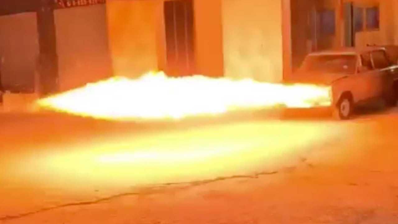 flamethrower car video