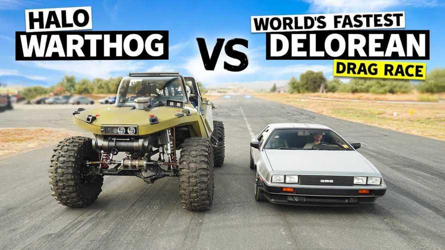 Halo Warthog Vs Twin-Turbo DeLorean, Drag Race Langka