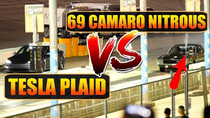 Watch Tesla Model S Plaid crazy acceleration vs 69 nitrous Camaro