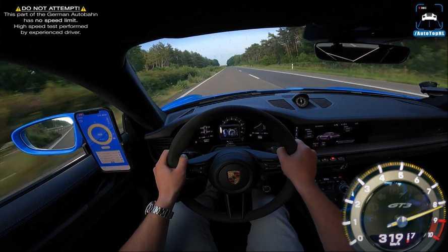 Porsche 911 GT3 hits German Autobahn for top speed run