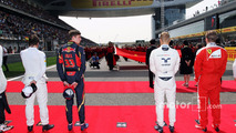 Max Verstappen, Scuderia Toro Rosso, Valtteri Bottas, Williams as the grid observes the national anthem, Lewis Hamilton, Mercedes AMG F1 Team is missing