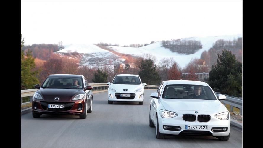 BMW 1er gegen Mazda 3 und Peugeot 308 im Vergleichstest (2012)