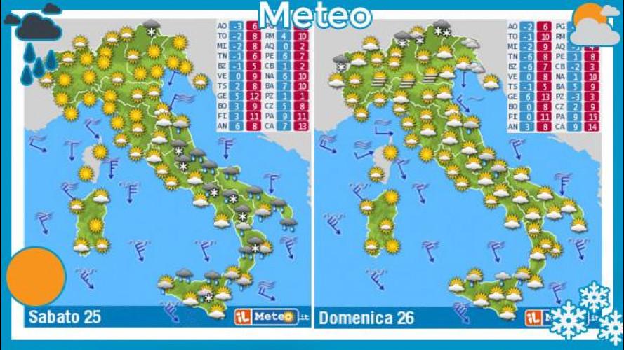 Previsioni meteo del fine settimana 25 e 26 gennaio