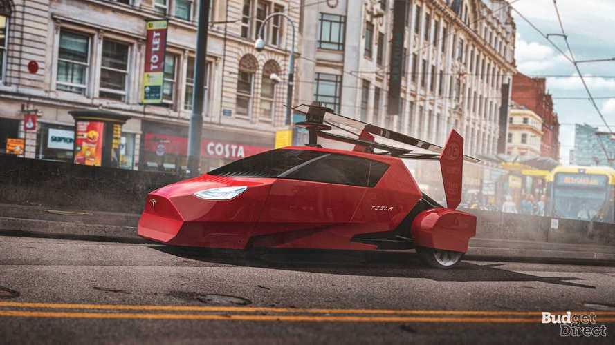 3 tesla flying car insideevs photos. Black Bedroom Furniture Sets. Home Design Ideas