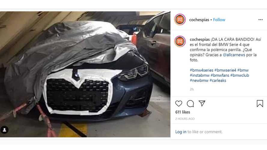BMW 4 Series leaked photo shows huge grille eating number plate