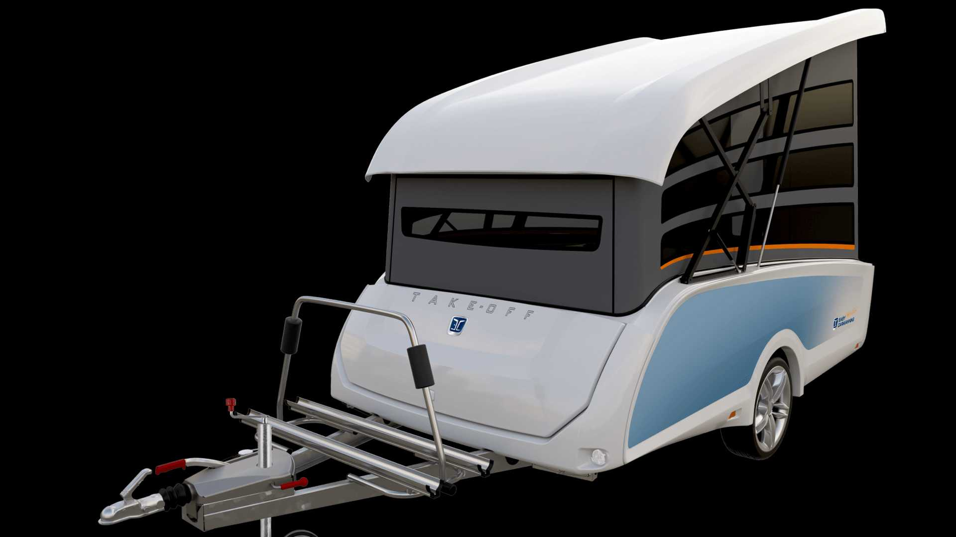 This futuristic pop-top camper can be towed by nearly anything