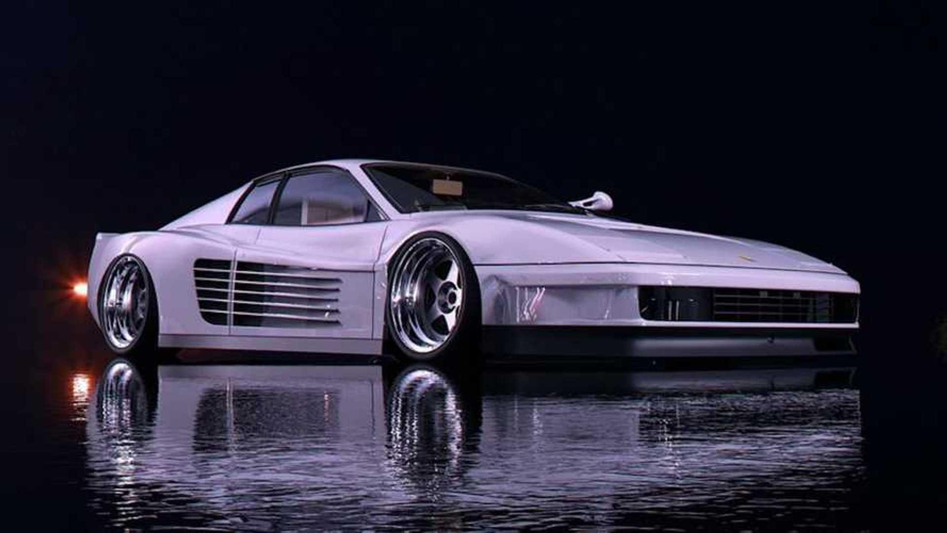 This Ferrari Testarossa Miami Vice Rendering Looks Really Neat