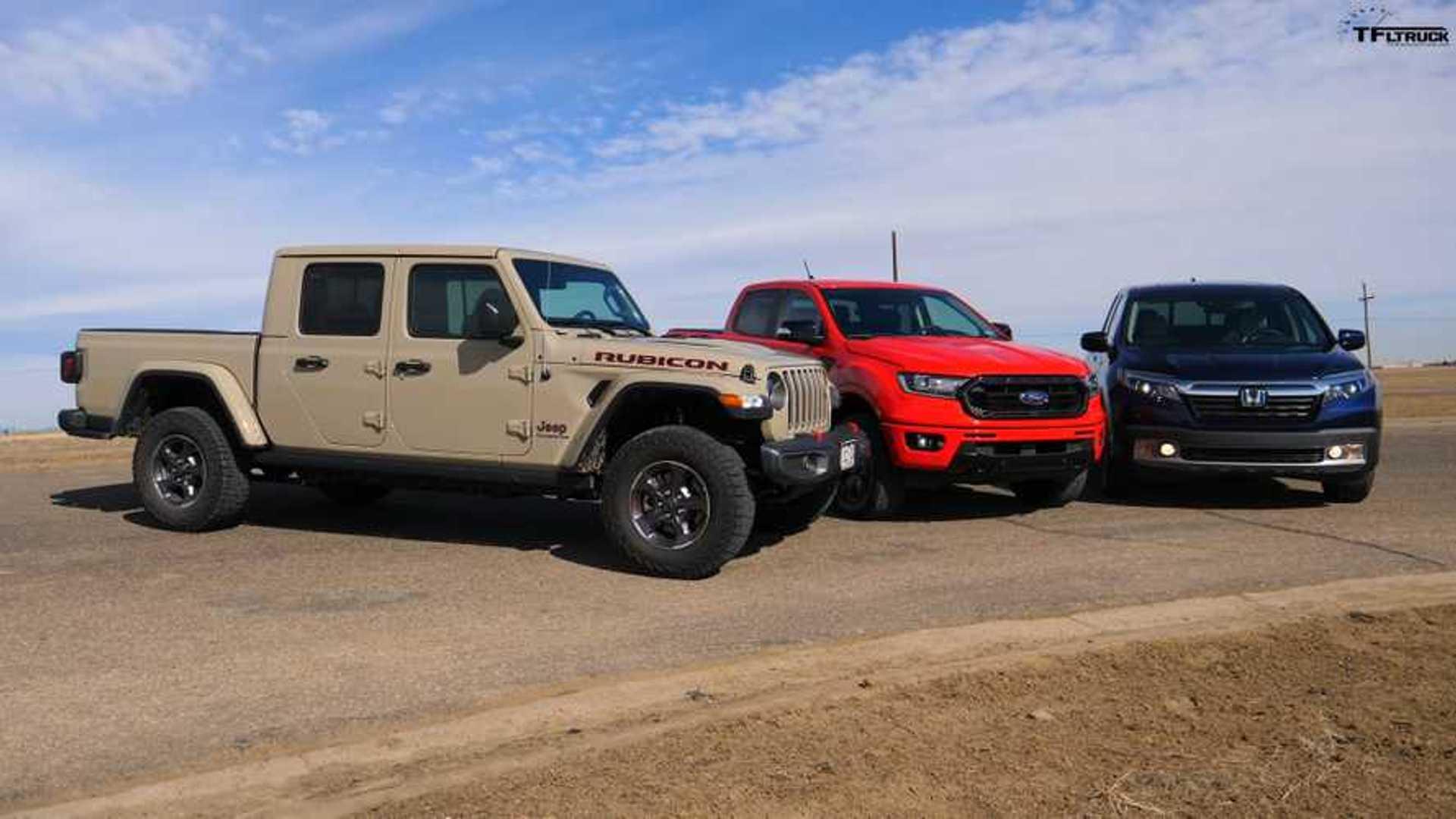 See Jeep Gladiator Drag Race Honda Ridgeline And Ford Ranger