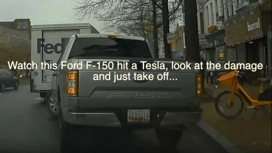 Watch Ford F-150 Pickup Truck Back Into Parked Tesla Then Flee
