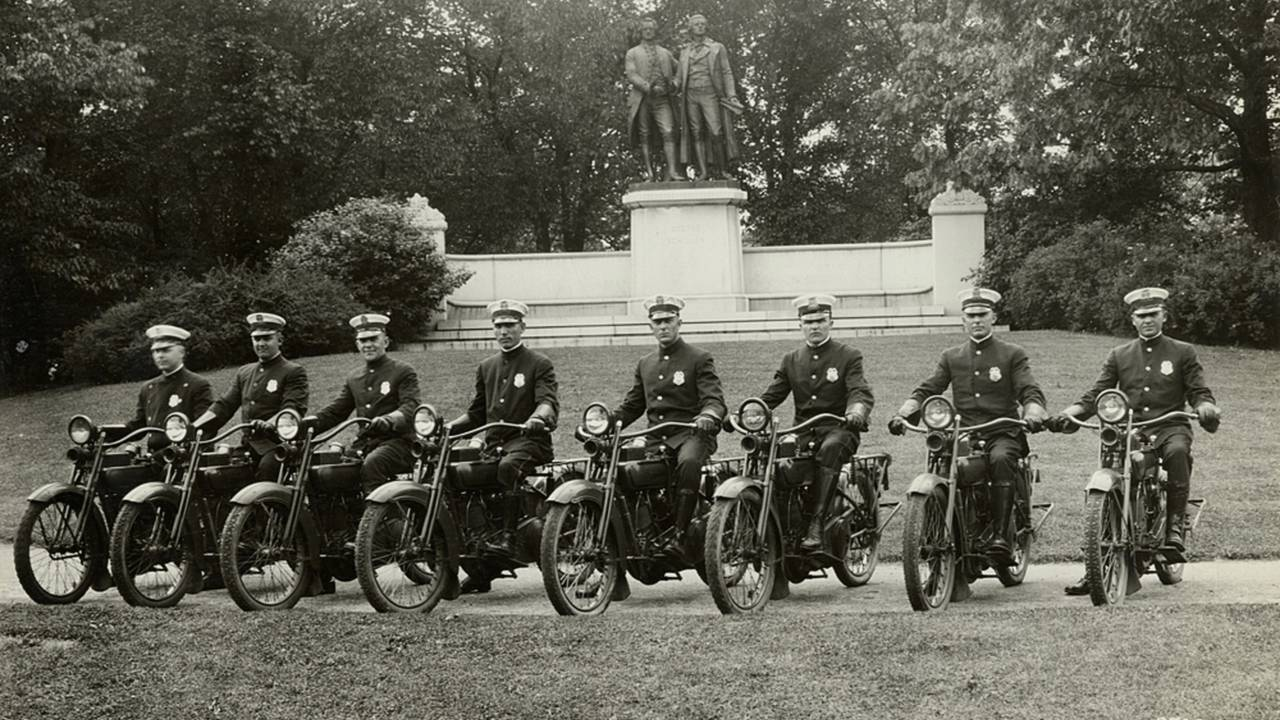 Police officers on J-series Harley-Davidsons, circa 1921. Photo courtesy of the HD Archives.