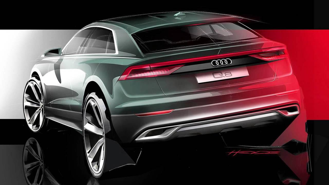Audi Q8, il disegno del posteriore
