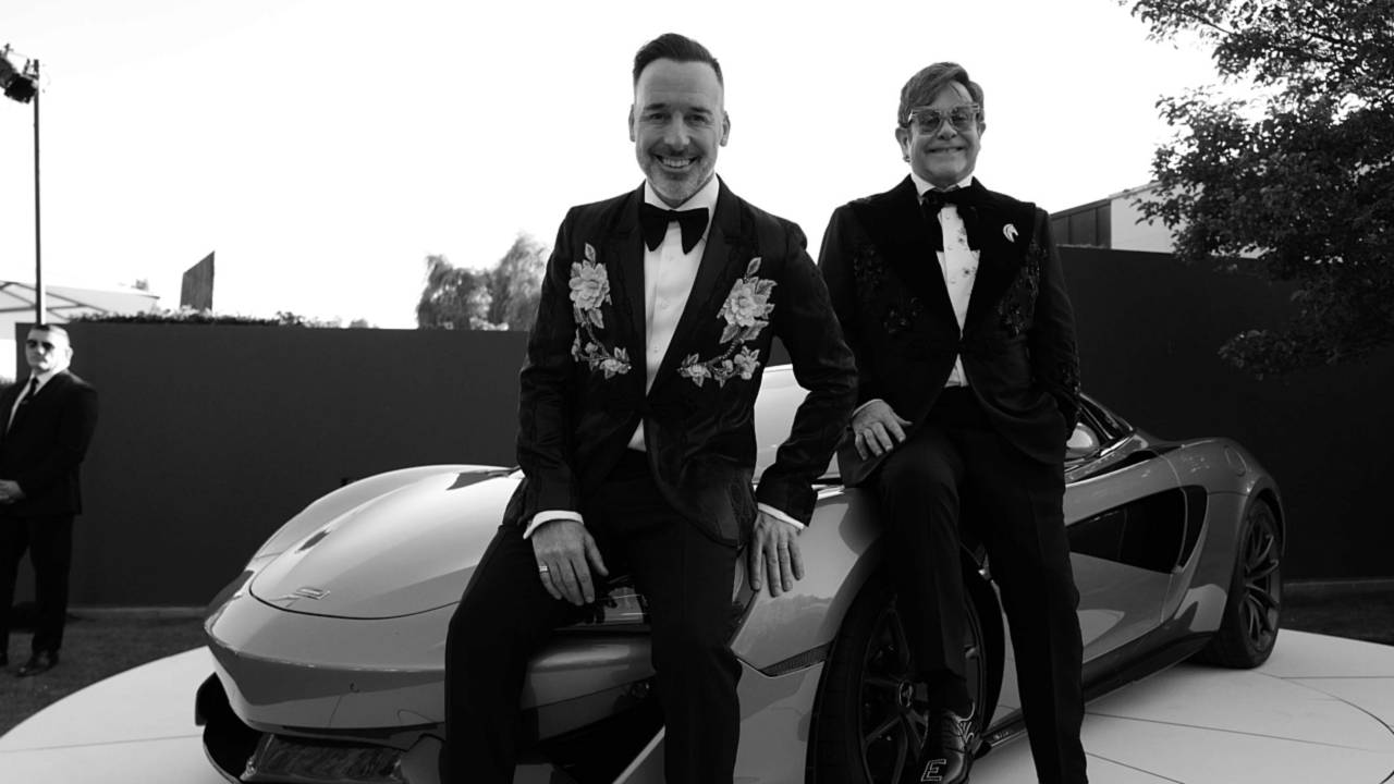 Elton John and David Furnish with McLaren 570S Spider - Greg Williams Photography