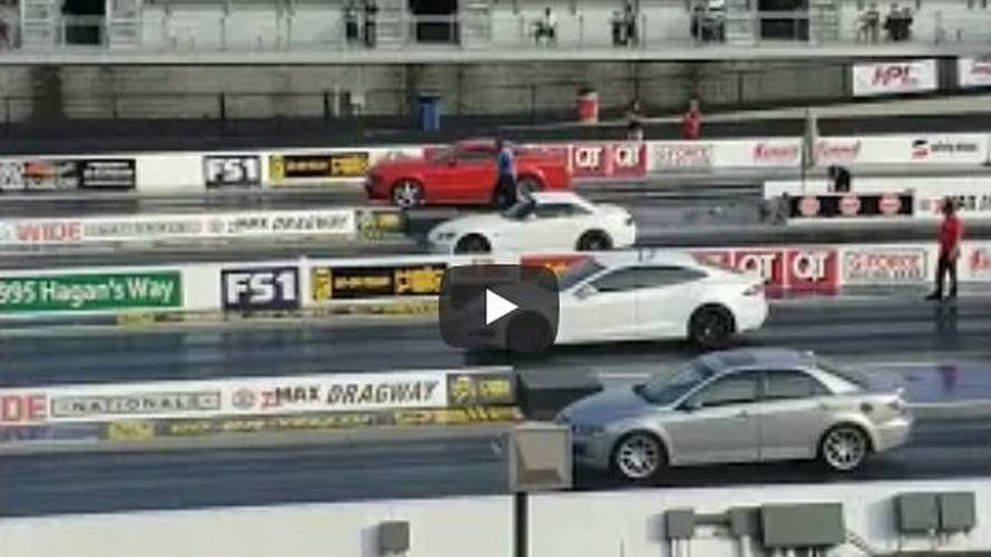Tesla Model S Takes On Mustang, S2000, Mazda6 In 4-Wide Drag Race