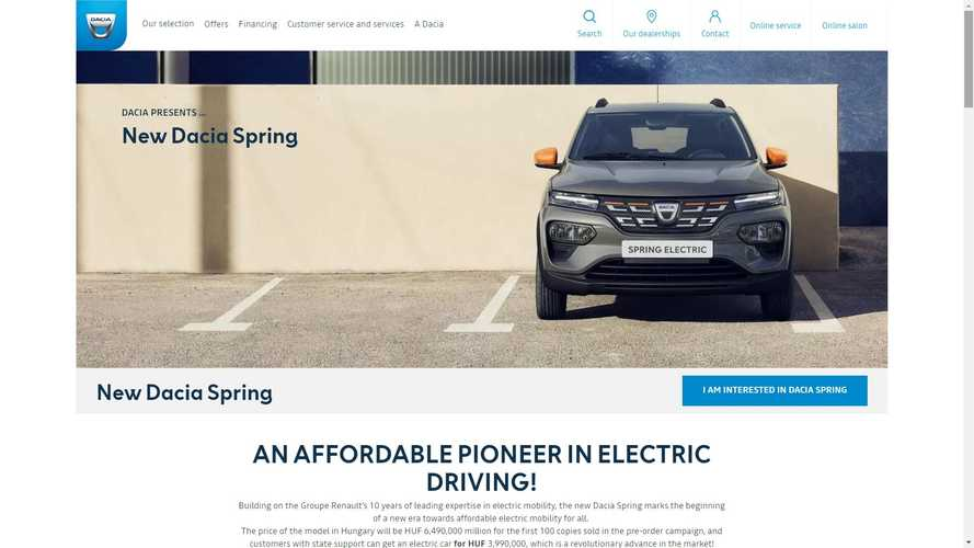 Dacia Spring, Europe's Cheapest EV, Will Cost $20,966 In Hungary