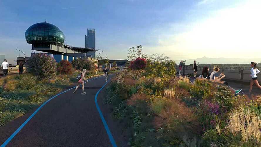 Con la 500 elettrica arriva Sky Drive, giardino pensile più alto d'Europa